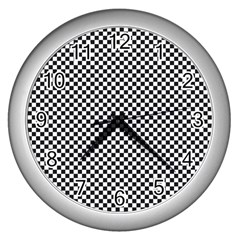 Sports Racing Chess Squares Black White Wall Clocks (Silver)