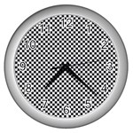 Sports Racing Chess Squares Black White Wall Clocks (Silver)  Front