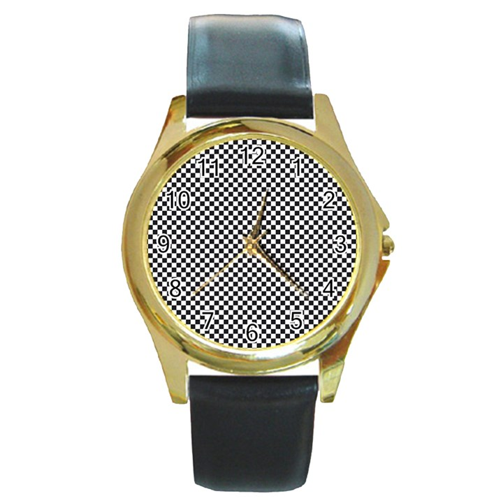 Sports Racing Chess Squares Black White Round Gold Metal Watch