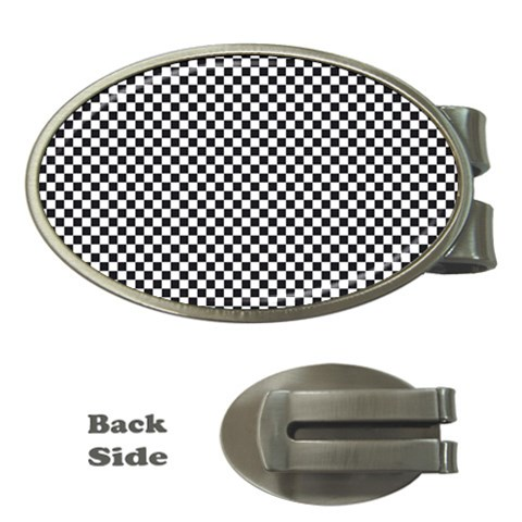 Sports Racing Chess Squares Black White Money Clips (Oval)