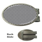 Sports Racing Chess Squares Black White Money Clips (Oval)  Front