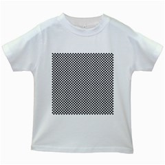 Sports Racing Chess Squares Black White Kids White T-Shirts