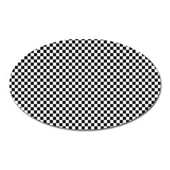 Sports Racing Chess Squares Black White Oval Magnet