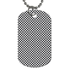 Sports Racing Chess Squares Black White Dog Tag (One Side)