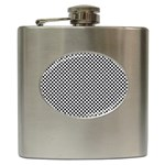 Sports Racing Chess Squares Black White Hip Flask (6 oz) Front