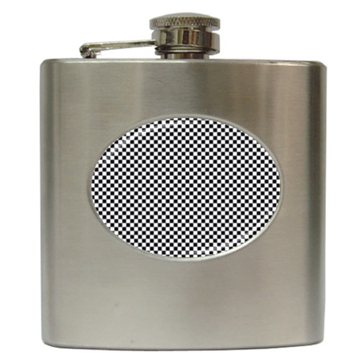 Sports Racing Chess Squares Black White Hip Flask (6 oz)