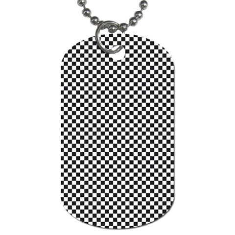 Sports Racing Chess Squares Black White Dog Tag (Two Sides)