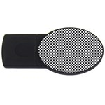 Sports Racing Chess Squares Black White USB Flash Drive Oval (1 GB)  Front