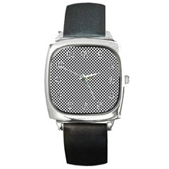 Sports Racing Chess Squares Black White Square Metal Watch