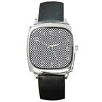 Sports Racing Chess Squares Black White Square Metal Watch Front