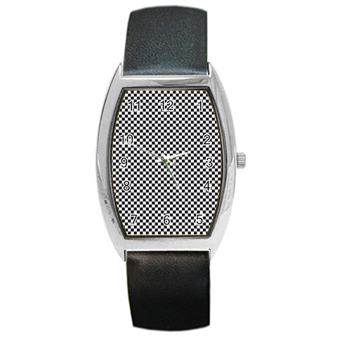 Sports Racing Chess Squares Black White Barrel Style Metal Watch