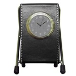Sports Racing Chess Squares Black White Pen Holder Desk Clocks Front