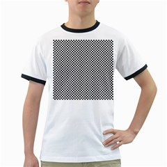 Sports Racing Chess Squares Black White Ringer T Shirts
