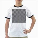 Sports Racing Chess Squares Black White Ringer T-Shirts Front