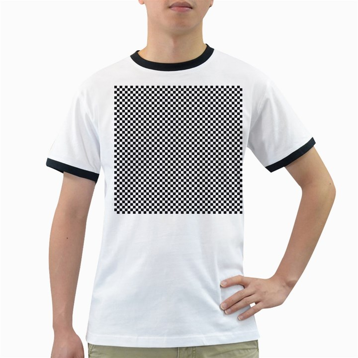 Sports Racing Chess Squares Black White Ringer T-Shirts