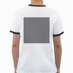 Sports Racing Chess Squares Black White Ringer T-Shirts Back