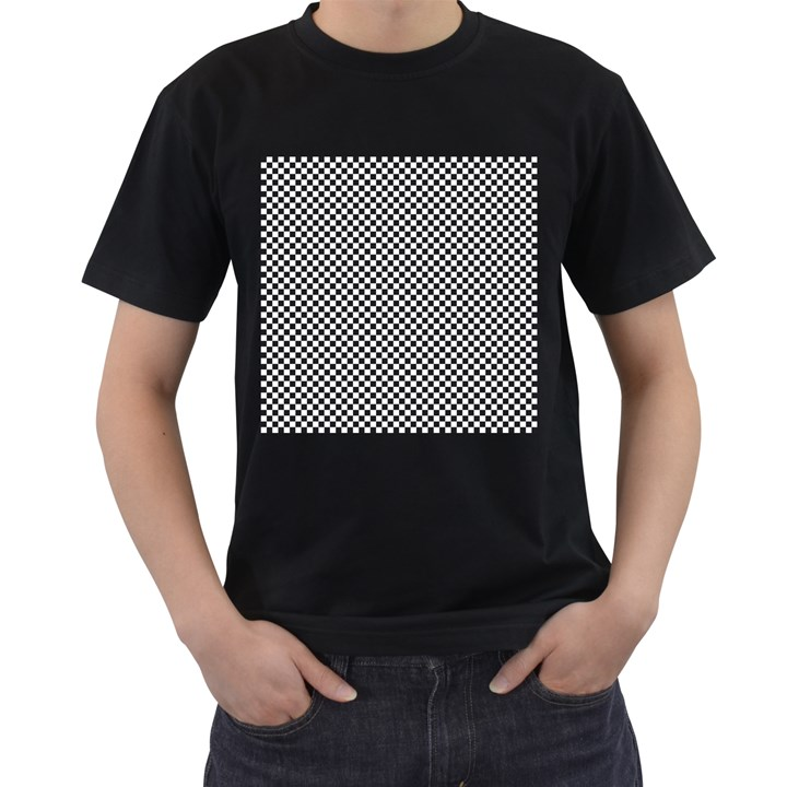Sports Racing Chess Squares Black White Men s T-Shirt (Black) (Two Sided)