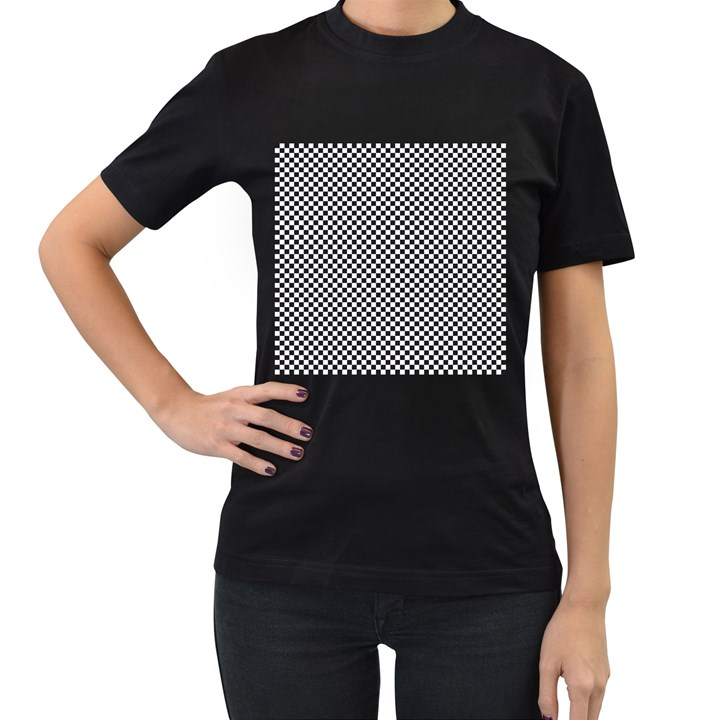 Sports Racing Chess Squares Black White Women s T-Shirt (Black) (Two Sided)