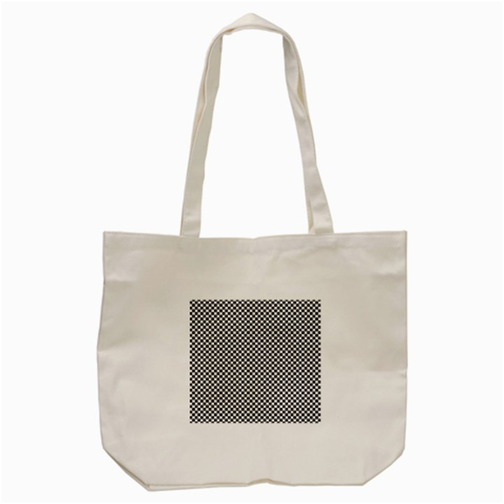 Sports Racing Chess Squares Black White Tote Bag (Cream)