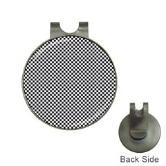 Sports Racing Chess Squares Black White Hat Clips With Golf Markers