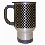 Sports Racing Chess Squares Black White Travel Mug (Silver Gray) Left