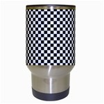Sports Racing Chess Squares Black White Travel Mugs (White) Center