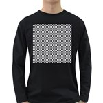 Sports Racing Chess Squares Black White Long Sleeve Dark T-Shirts Front