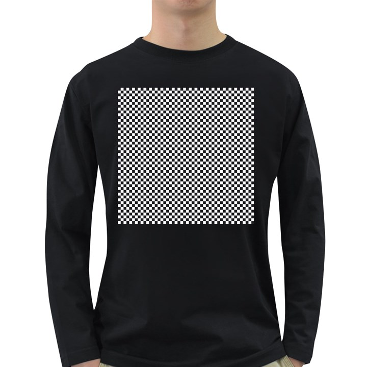 Sports Racing Chess Squares Black White Long Sleeve Dark T-Shirts