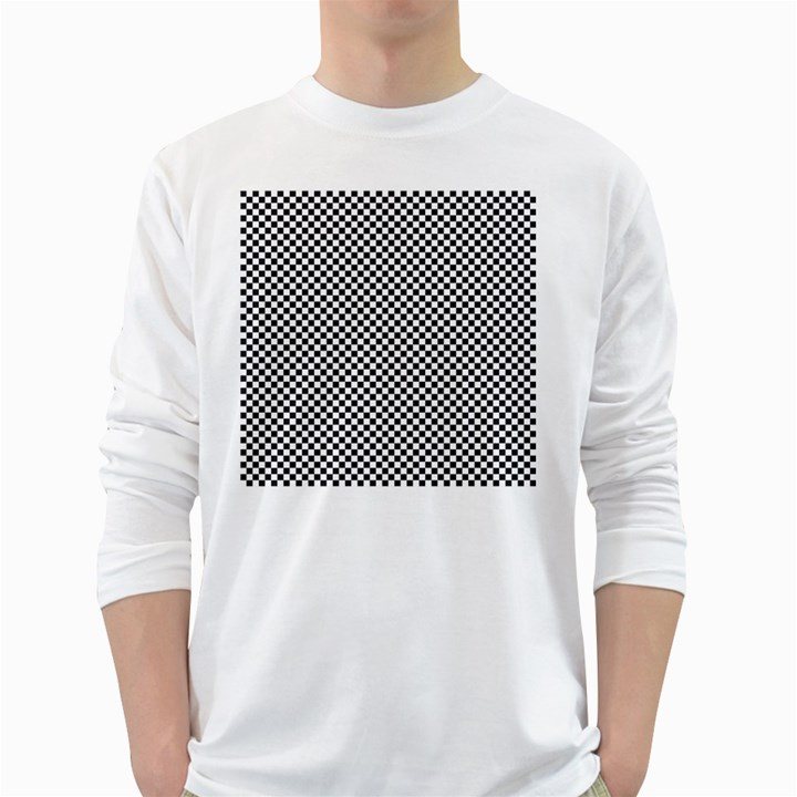 Sports Racing Chess Squares Black White White Long Sleeve T-Shirts