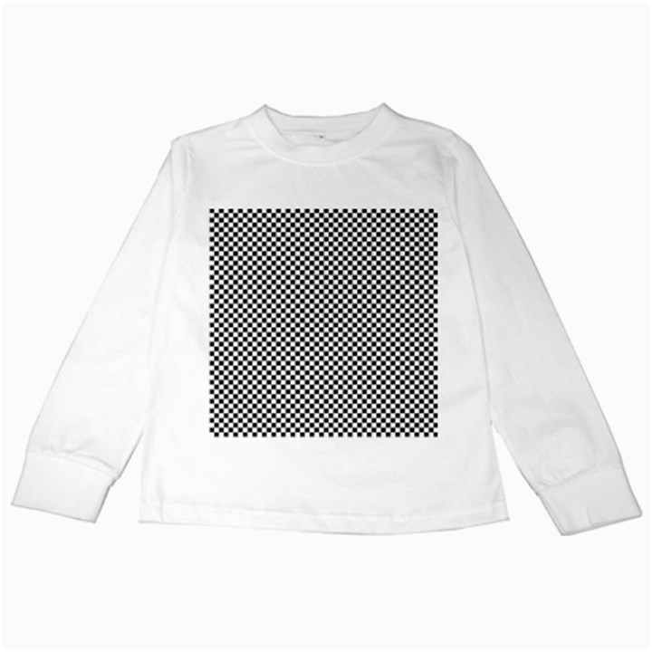 Sports Racing Chess Squares Black White Kids Long Sleeve T-Shirts