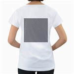 Sports Racing Chess Squares Black White Women s Loose-Fit T-Shirt (White) Back