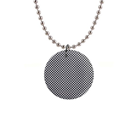Sports Racing Chess Squares Black White Button Necklaces