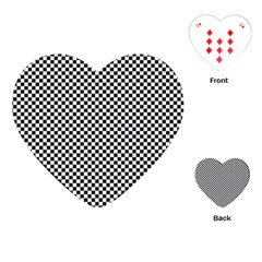Sports Racing Chess Squares Black White Playing Cards (heart)
