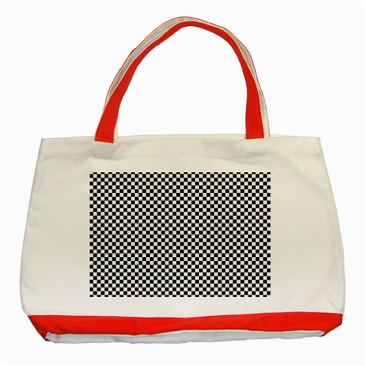 Sports Racing Chess Squares Black White Classic Tote Bag (Red)