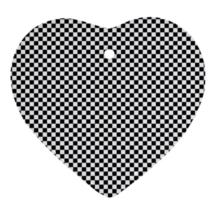 Sports Racing Chess Squares Black White Heart Ornament (2 Sides)