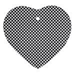 Sports Racing Chess Squares Black White Heart Ornament (2 Sides) Back