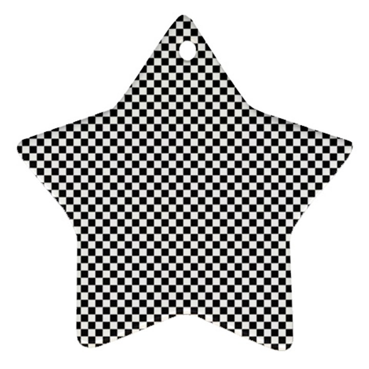 Sports Racing Chess Squares Black White Star Ornament (Two Sides)