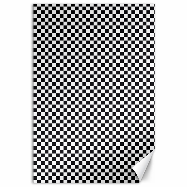 Sports Racing Chess Squares Black White Canvas 12  x 18