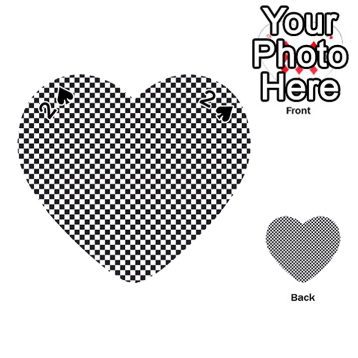 Sports Racing Chess Squares Black White Playing Cards 54 (Heart)