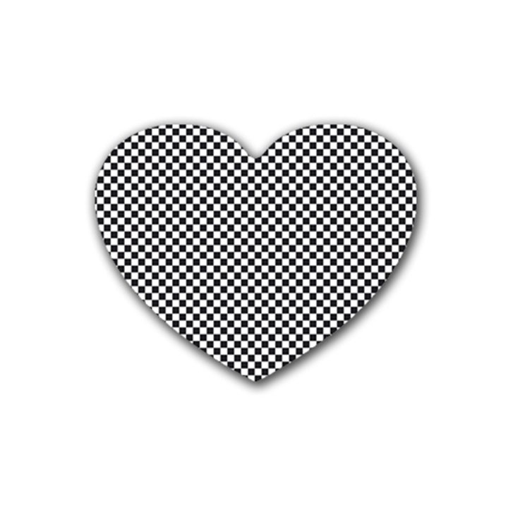 Sports Racing Chess Squares Black White Heart Coaster (4 pack)