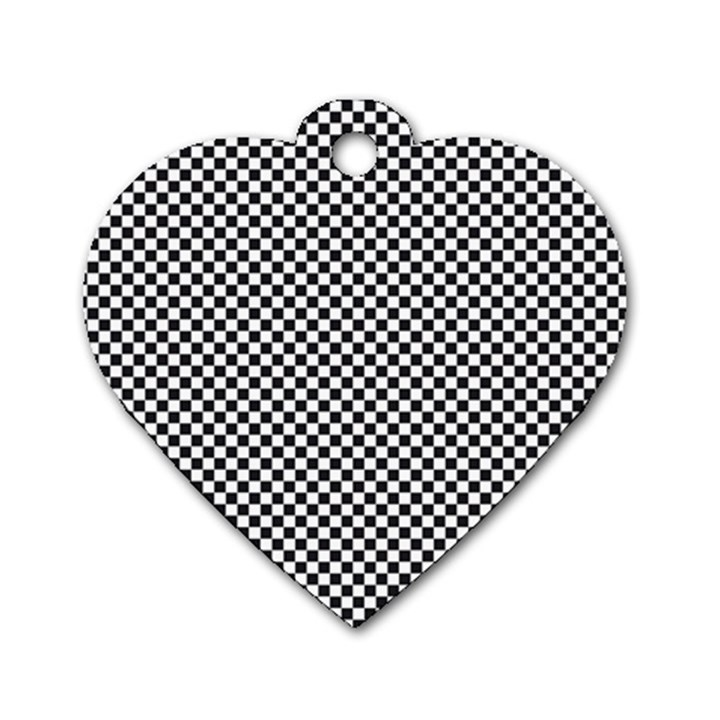 Sports Racing Chess Squares Black White Dog Tag Heart (One Side)