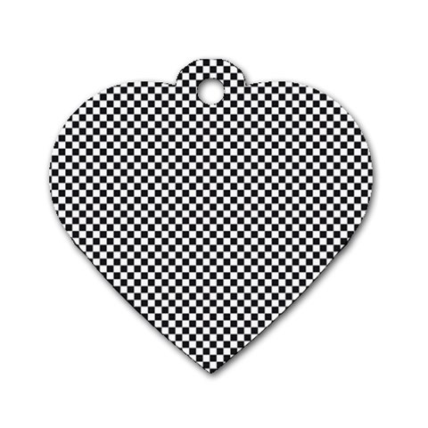Sports Racing Chess Squares Black White Dog Tag Heart (Two Sides)