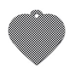 Sports Racing Chess Squares Black White Dog Tag Heart (Two Sides) Back