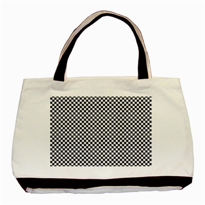 Sports Racing Chess Squares Black White Basic Tote Bag (Two Sides)