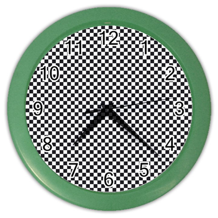 Sports Racing Chess Squares Black White Color Wall Clocks