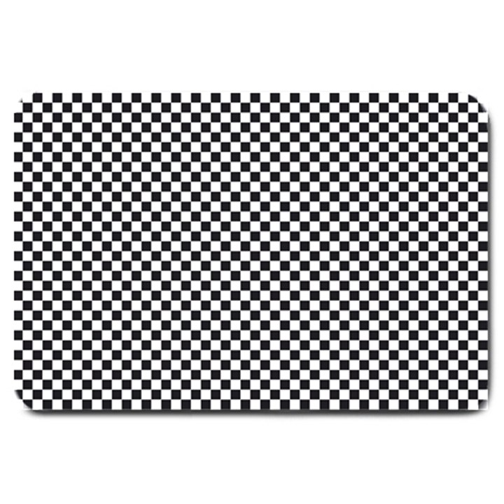 Sports Racing Chess Squares Black White Large Doormat