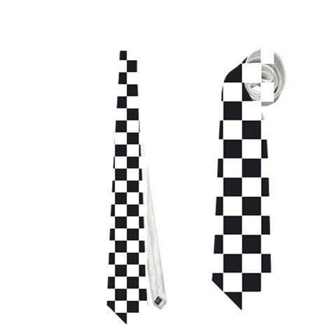 Sports Racing Chess Squares Black White Neckties (One Side)