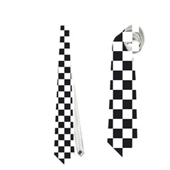 Sports Racing Chess Squares Black White Neckties (two Side)