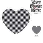 Sports Racing Chess Squares Black White Multi-purpose Cards (Heart)  Front 14