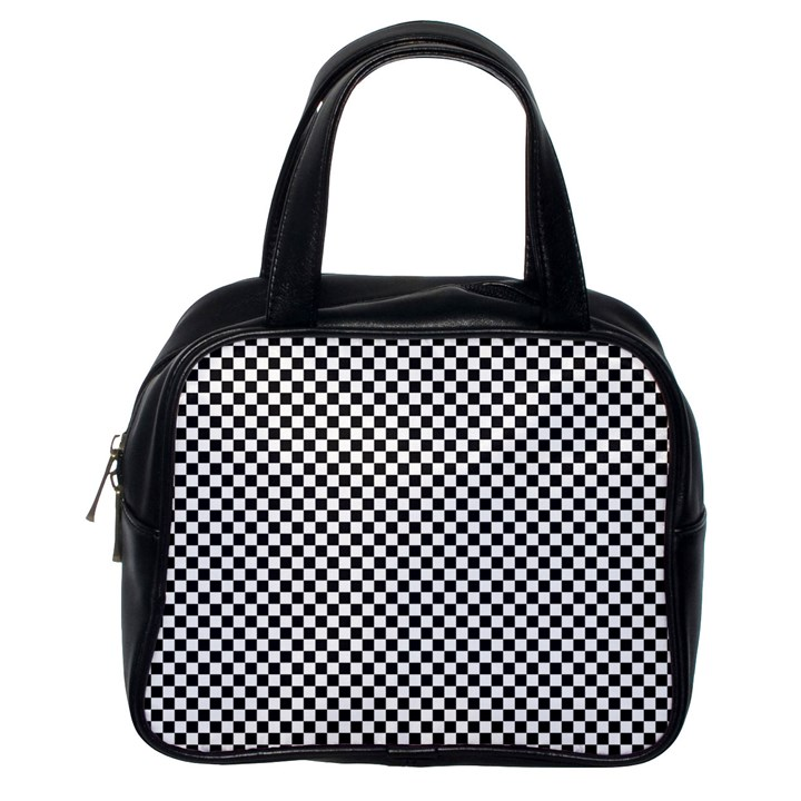 Sports Racing Chess Squares Black White Classic Handbags (One Side)